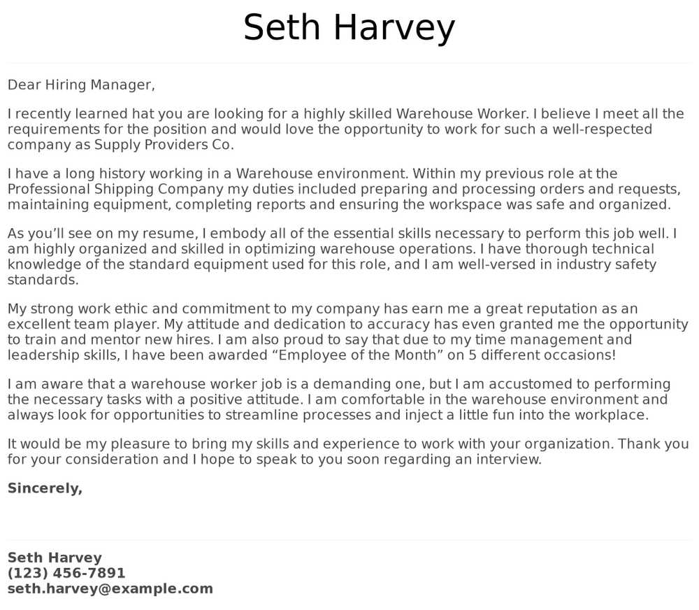 warehouse worker cover letter examples samples templates resume of objectives for workers Resume Examples Of Resume Objectives For Warehouse Workers