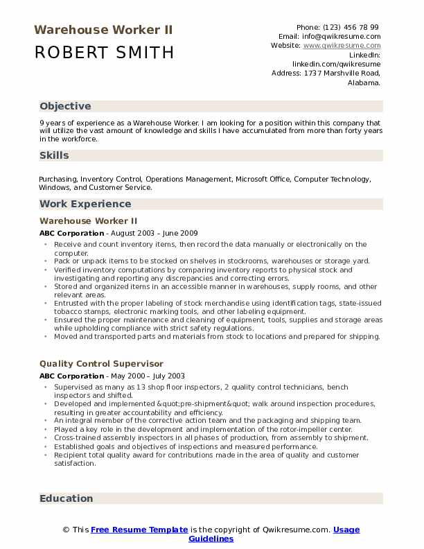 warehouse worker resume samples qwikresume examples of objectives for workers pdf best Resume Examples Of Resume Objectives For Warehouse Workers
