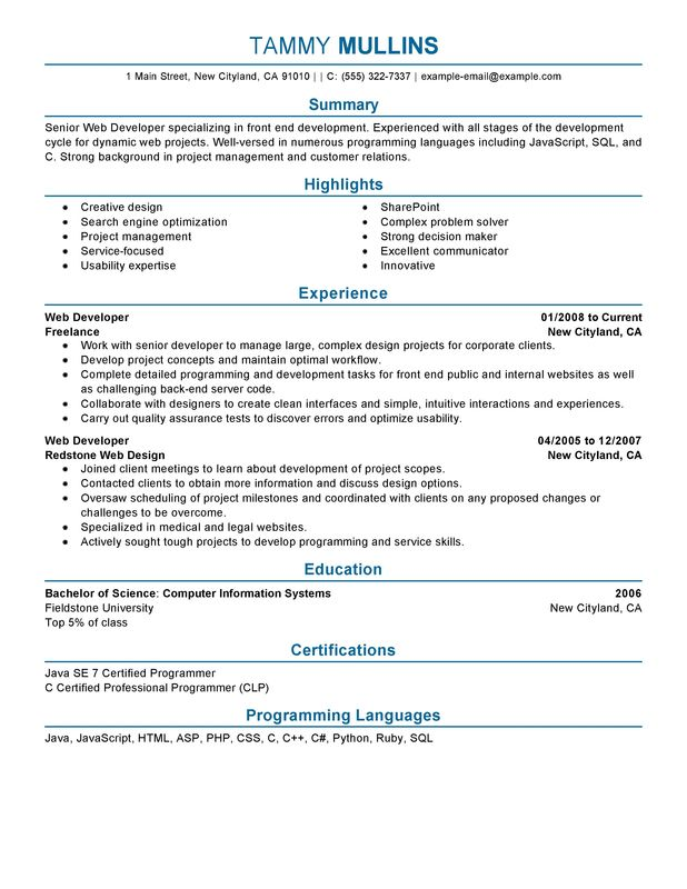 web developer resume examples created by pros myperfectresume technical skills for front Resume Technical Skills For Front End Developer Resume