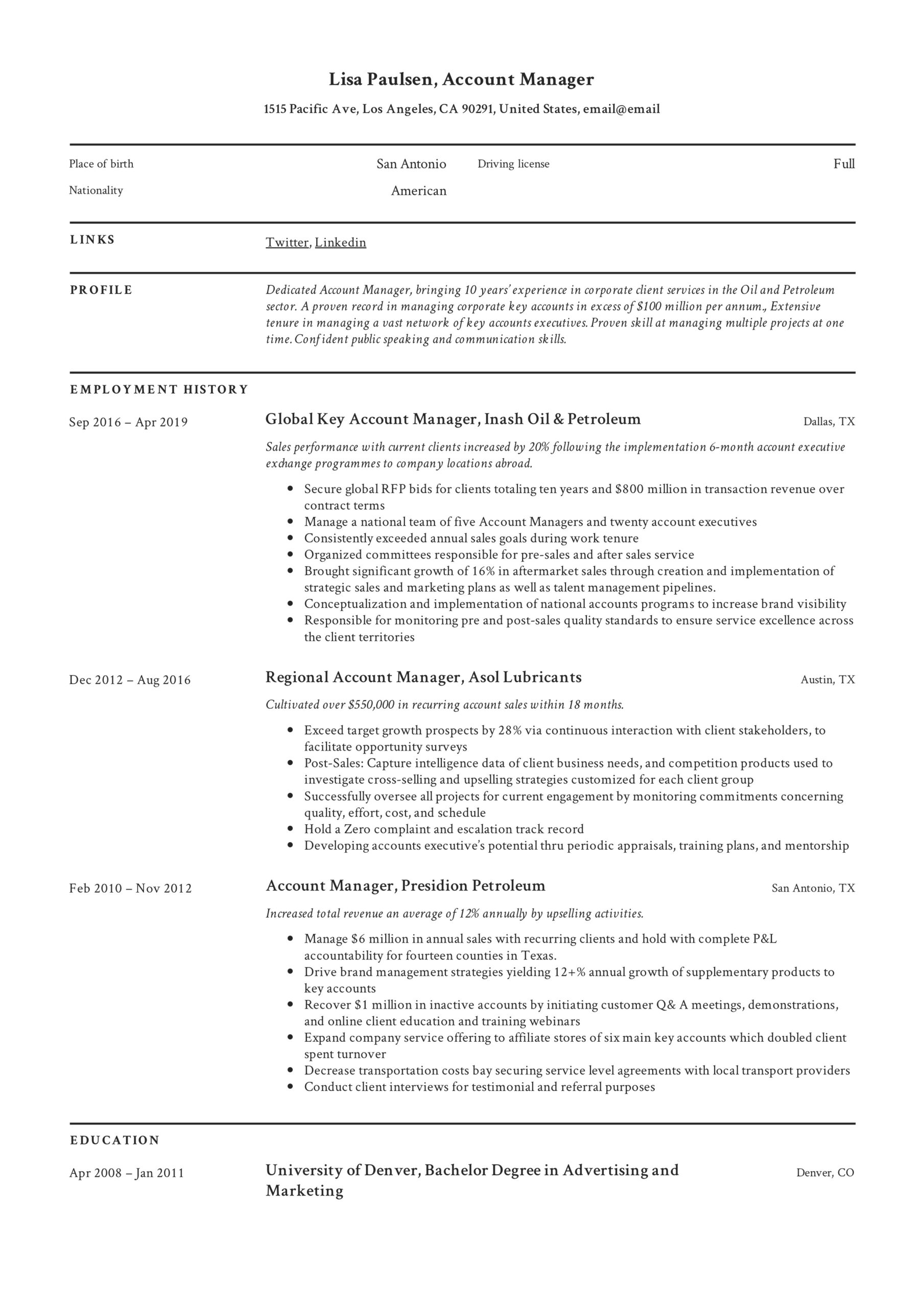 account manager resume writing guide examples director of transportation lisa paulsen Resume Director Of Transportation Resume