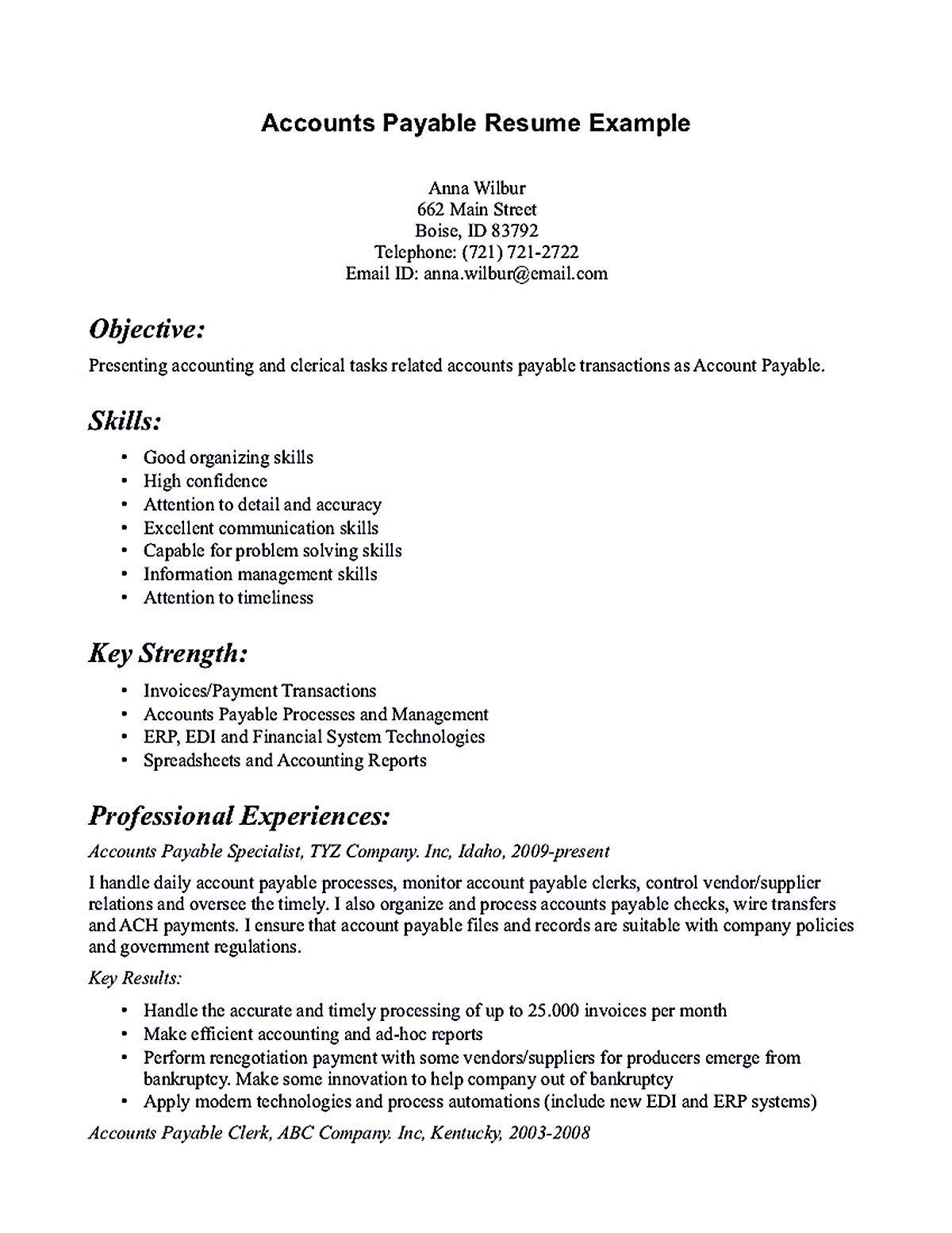 account payable resume display your skills as specialist the interpersonal are men Resume Excellent Communication Skills Resume