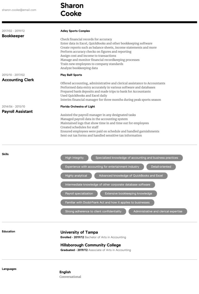 accountant resume samples all experience levels format for intermediate sample regulatory Resume Experience Resume Format For Accountant