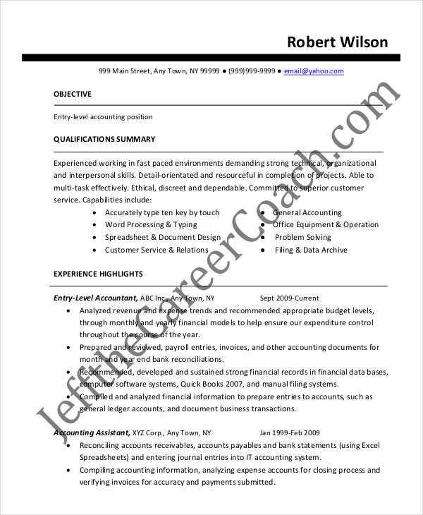 accountant resume templates in pdf free premium summary examples entry level accounting Resume Resume Summary Examples Entry Level Accounting