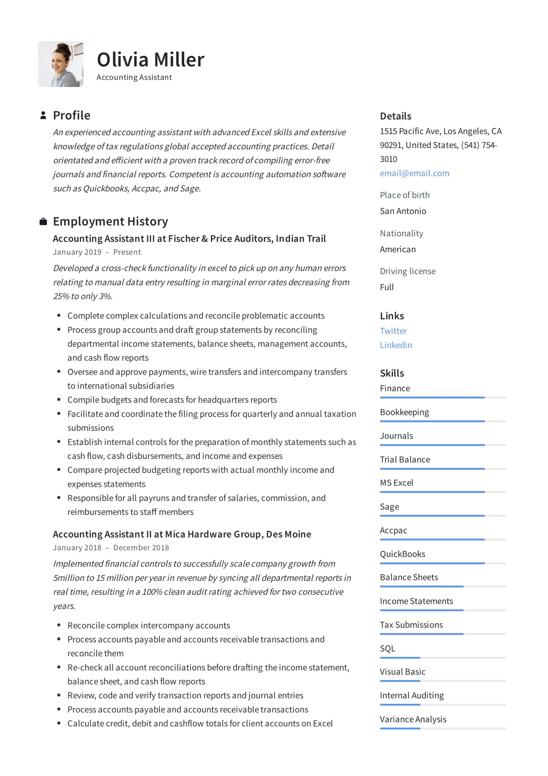 accounting assistant resume writing guide examples pdf sample governance aws devops Resume Accounting Assistant Resume Sample