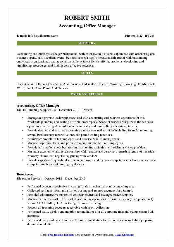 accounting office manager resume samples qwikresume description for pdf examples Resume Office Manager Description For Resume