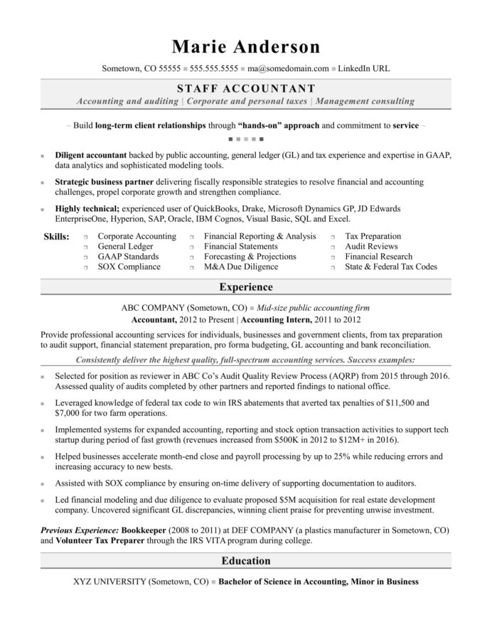 accounting resume sample monster experience format for accountant mission statement Resume Experience Resume Format For Accountant