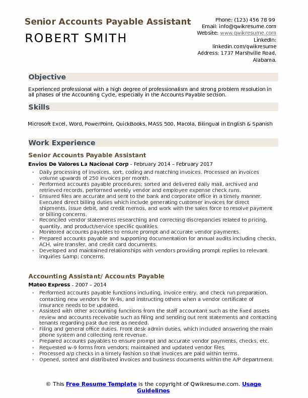 accounts payable assistant resume samples qwikresume objective pdf agile coach first time Resume Accounts Payable Resume Objective