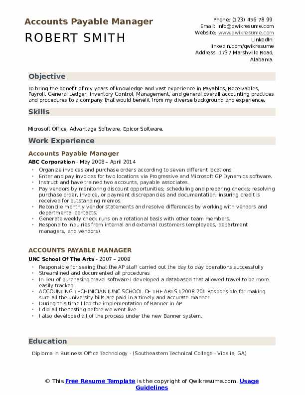 accounts payable manager resume samples qwikresume objective pdf for entry level clerical Resume Accounts Payable Resume Objective