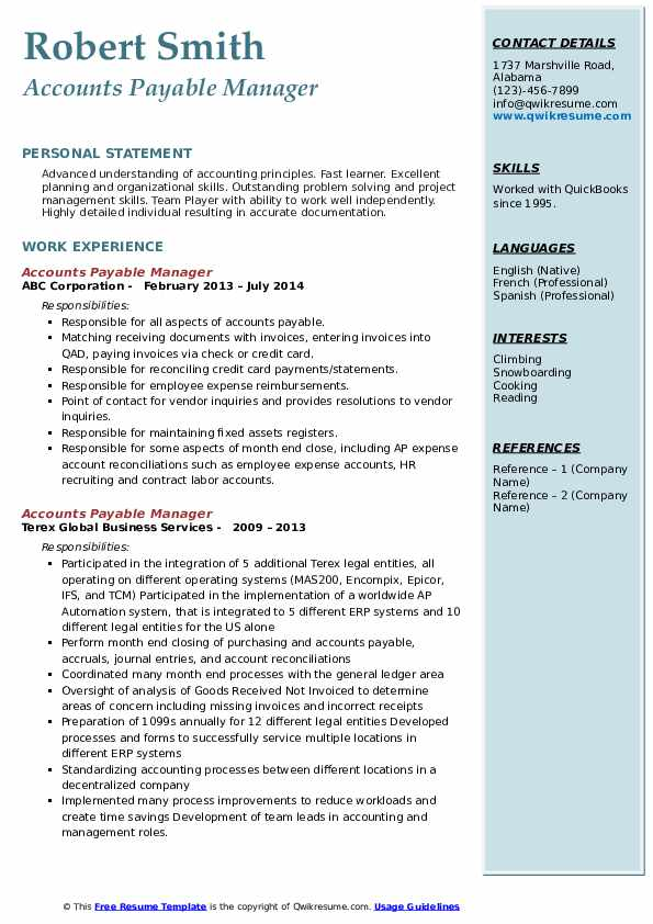 accounts payable manager resume samples qwikresume pdf examples of work skills for Resume Accounts Payable Manager Resume