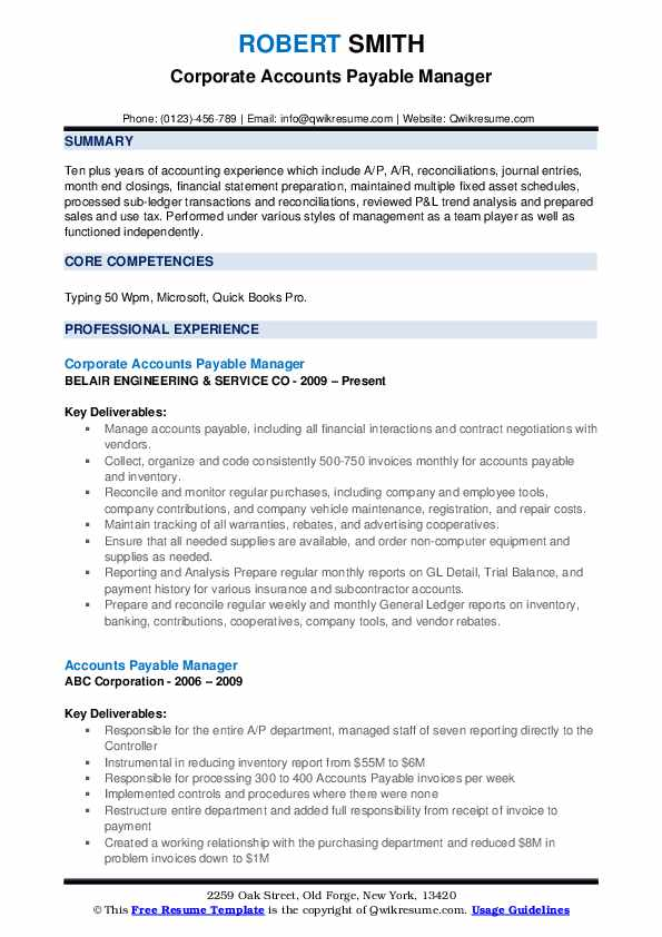 accounts payable manager resume samples qwikresume pdf uark builder best format for Resume Accounts Payable Manager Resume