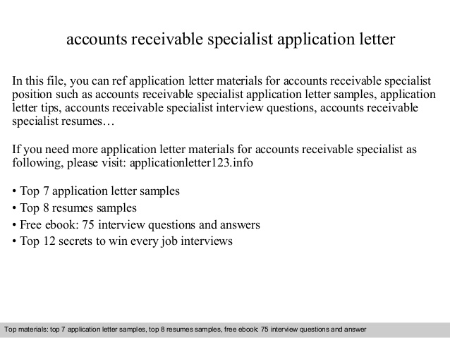 accounts receivable specialist application letter resume sample generic cover for making Resume Accounts Receivable Specialist Resume