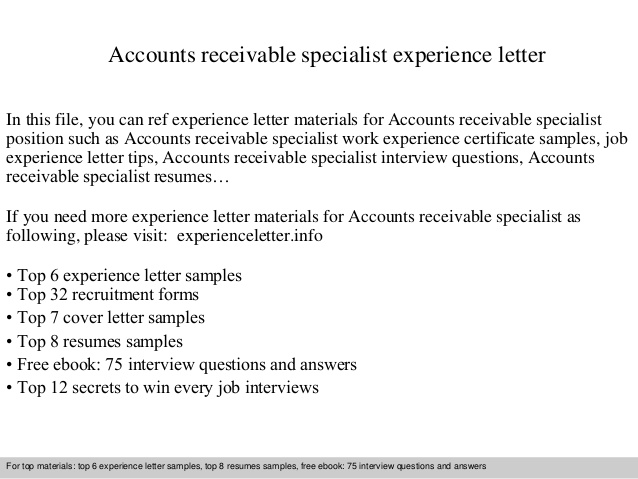 accounts receivable specialist experience letter resume for data entry job without sample Resume Accounts Receivable Specialist Resume