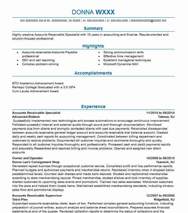 accounts receivable specialist resume example livecareer stock broker trainee hospice Resume Accounts Receivable Specialist Resume