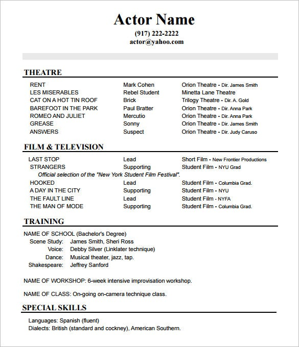 acting resume templates free samples examples formats premium theatre template no Resume Theatre Resume Template