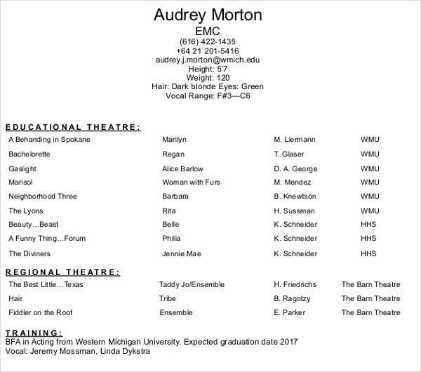 acting resume templates pdf free premium commercial professional director of operations Resume Commercial Acting Resume