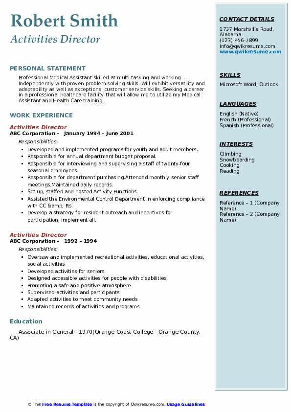 activities director resume samples qwikresume interests and on examples pdf recent Resume Interests And Activities On Resume Examples