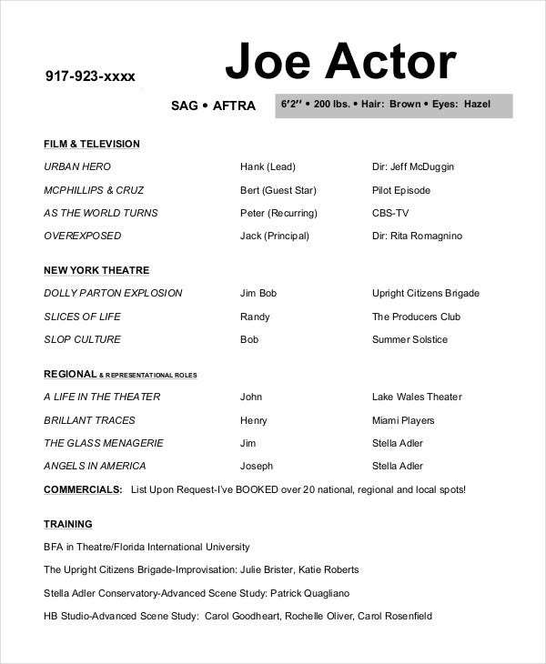 actor resume examples pdf free premium templates commercial acting joe template graphic Resume Commercial Acting Resume