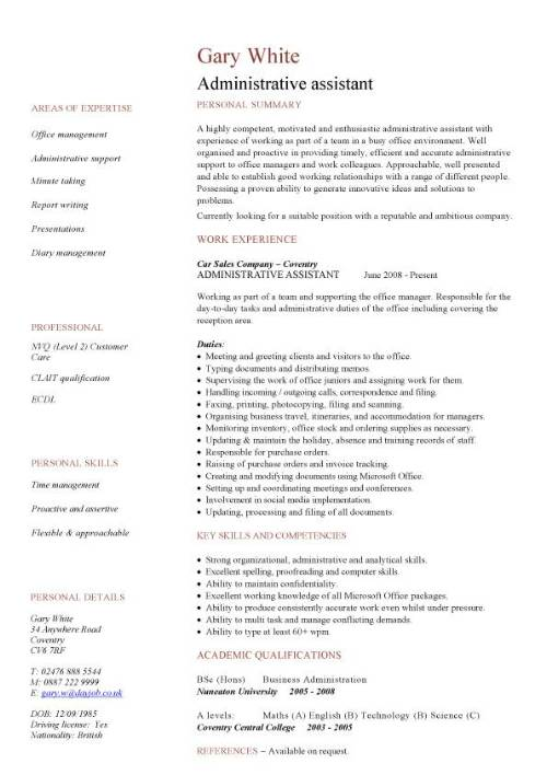 administrative assistant cv sample planning and organizing clerical office jobs resume Resume Admin Assistant Job Description Resume