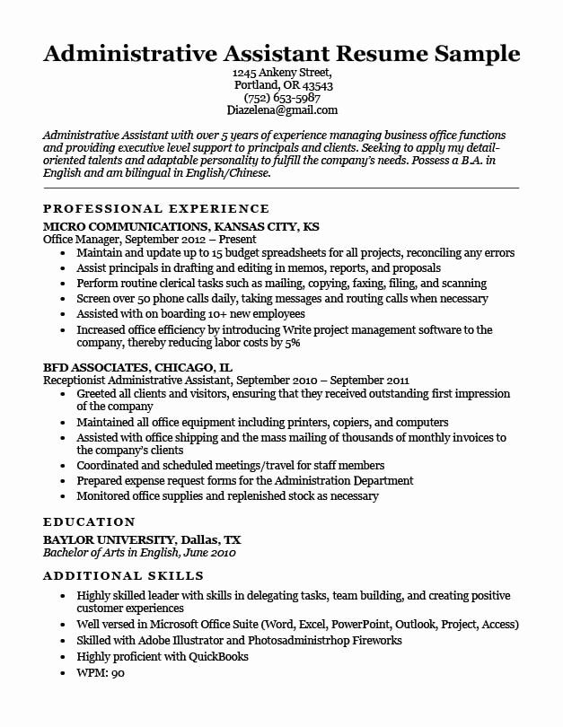 administrative assistant resume summary fresh administra job description jobs executive Resume Executive Assistant Resume Examples 2020