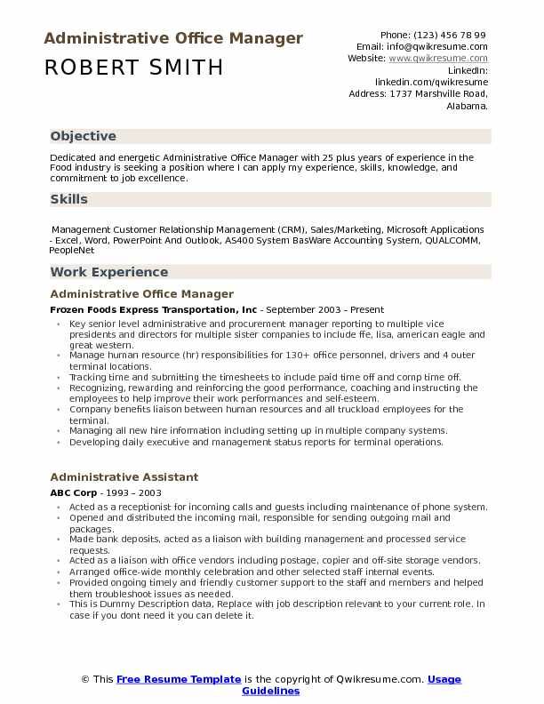 administrative office manager resume samples qwikresume description for pdf security Resume Office Manager Description For Resume