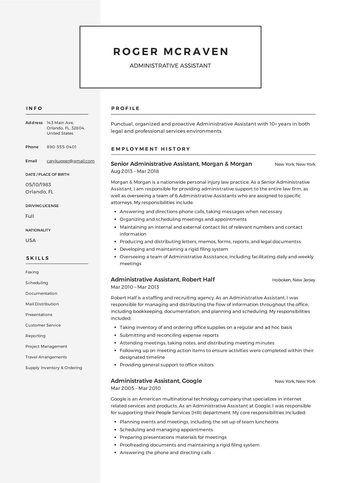 administrative resume template free microsoft word assistant event planner office manager Resume Administrative Assistant Resume 2020