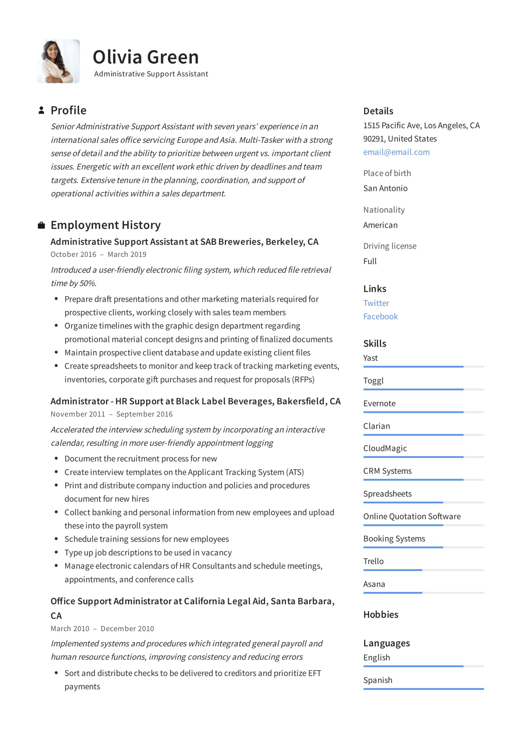 administrative support assistant resume guide pdf resumes keywords for executive olivia Resume Keywords For Executive Assistant Resume