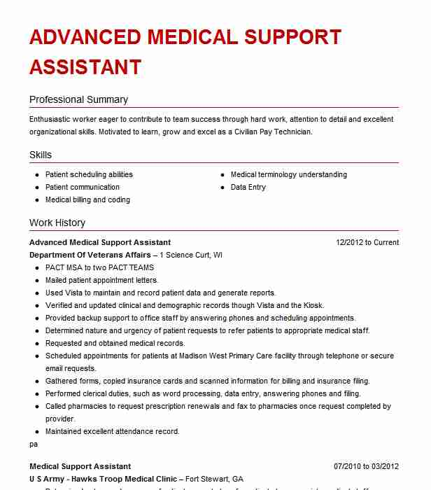 advanced medical support assistant resume example va san diego health system examples Resume Medical Support Assistant Resume Examples