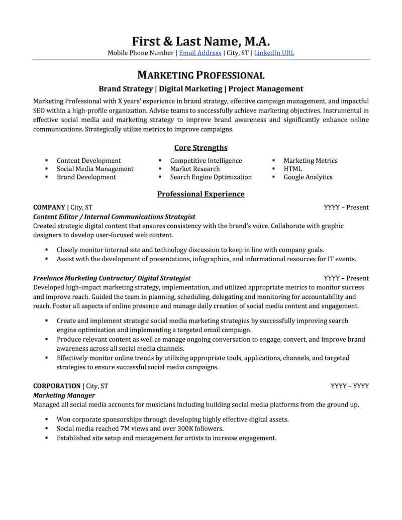 advertising marketing resume sample professional examples topresume career profile on Resume Career Profile On Resume