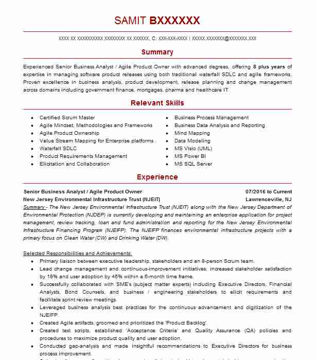 agile business analyst resume example mckesson scrum controller samples hobbies good for Resume Scrum Business Analyst Resume