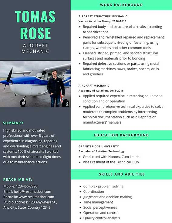 aircraft mechanic resume samples and tips pdf templates resumes bot best format for Resume Best Resume Format For Aviation