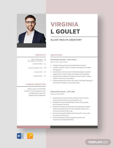 allied health assistant resume cv template word apple mac paralegal skills manufacturing Resume Allied Health Assistant Resume