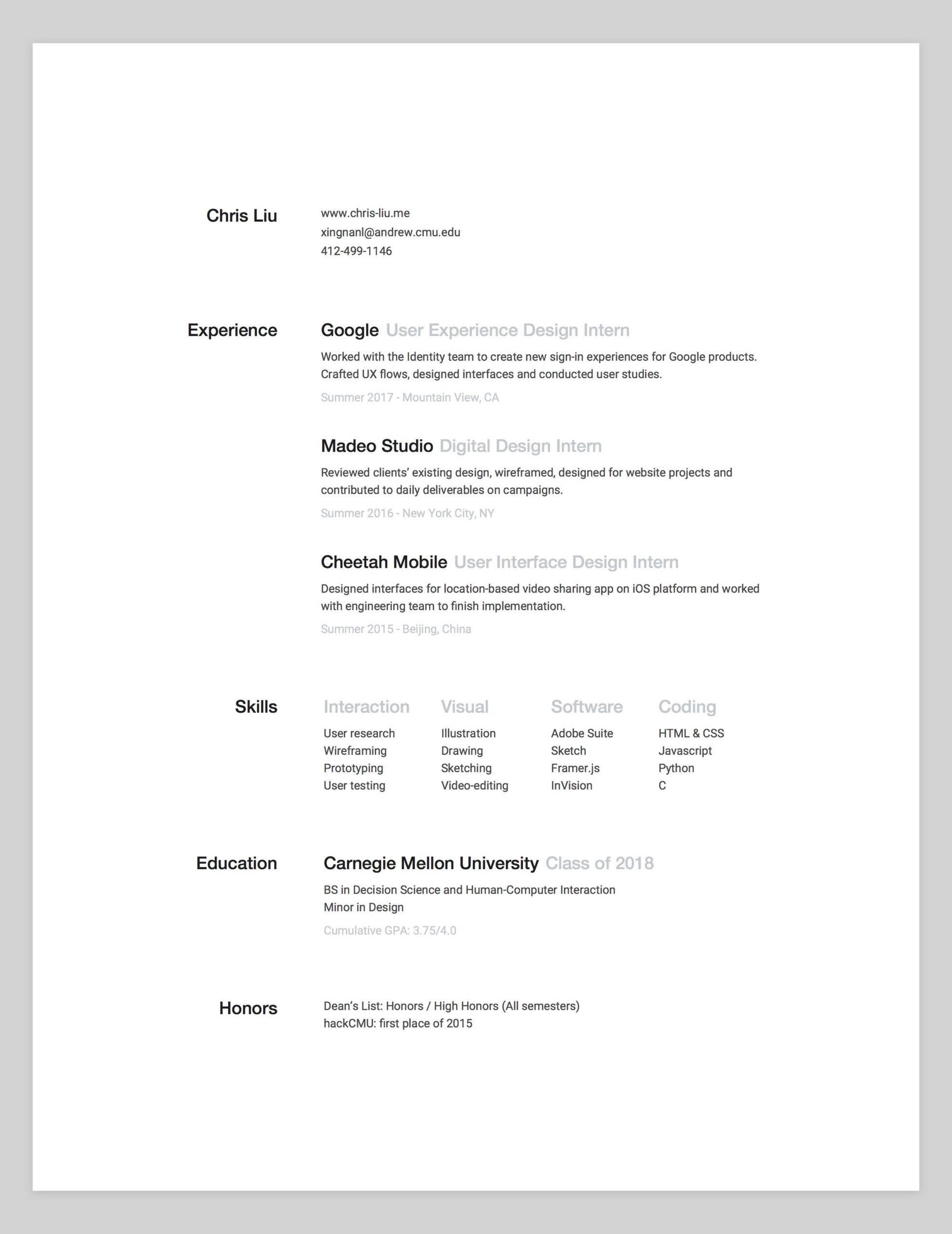 amazing designer resumes that passed google bar by bestfolios medium resume for Resume Resume For Google Internship