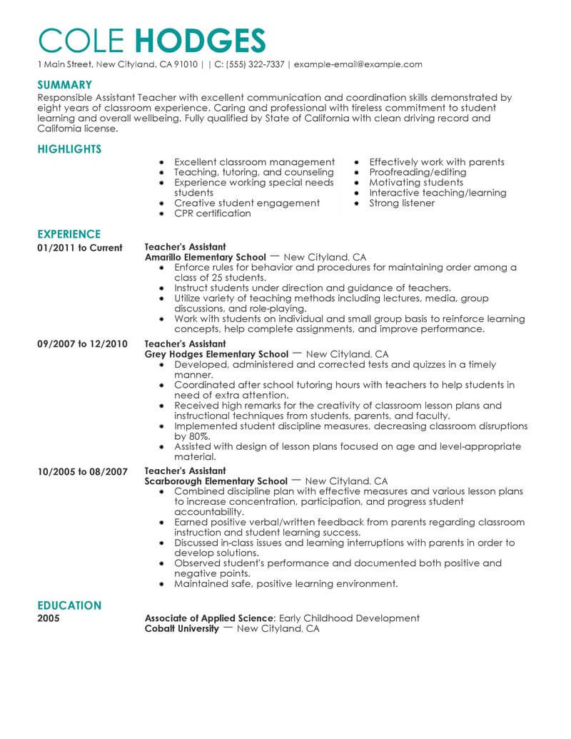 amazing education resume examples livecareer job assistant teacher contemporary call Resume Job Resume Education Examples