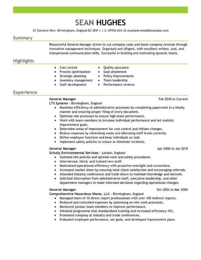 amazing management resume examples livecareer performance general manager emphasis psw Resume Performance Resume Examples