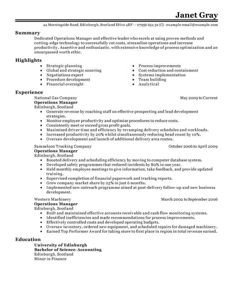 amazing management resume examples livecareer writing experience operations manager Resume Resume Writing Management Experience