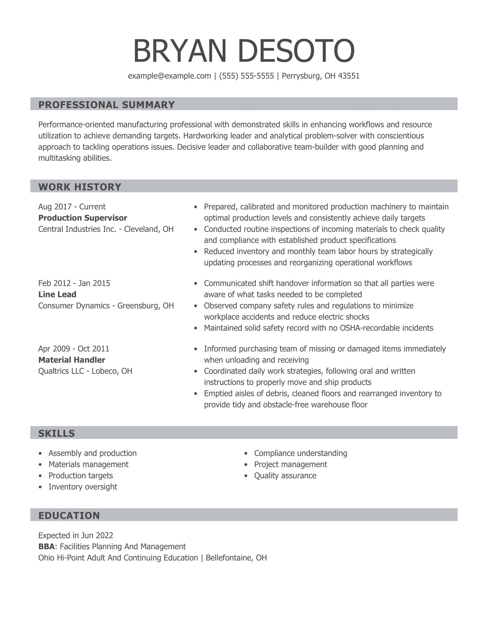 amazing production resume examples livecareer skill set for supervisor customer service Resume Skill Set Examples For Resume