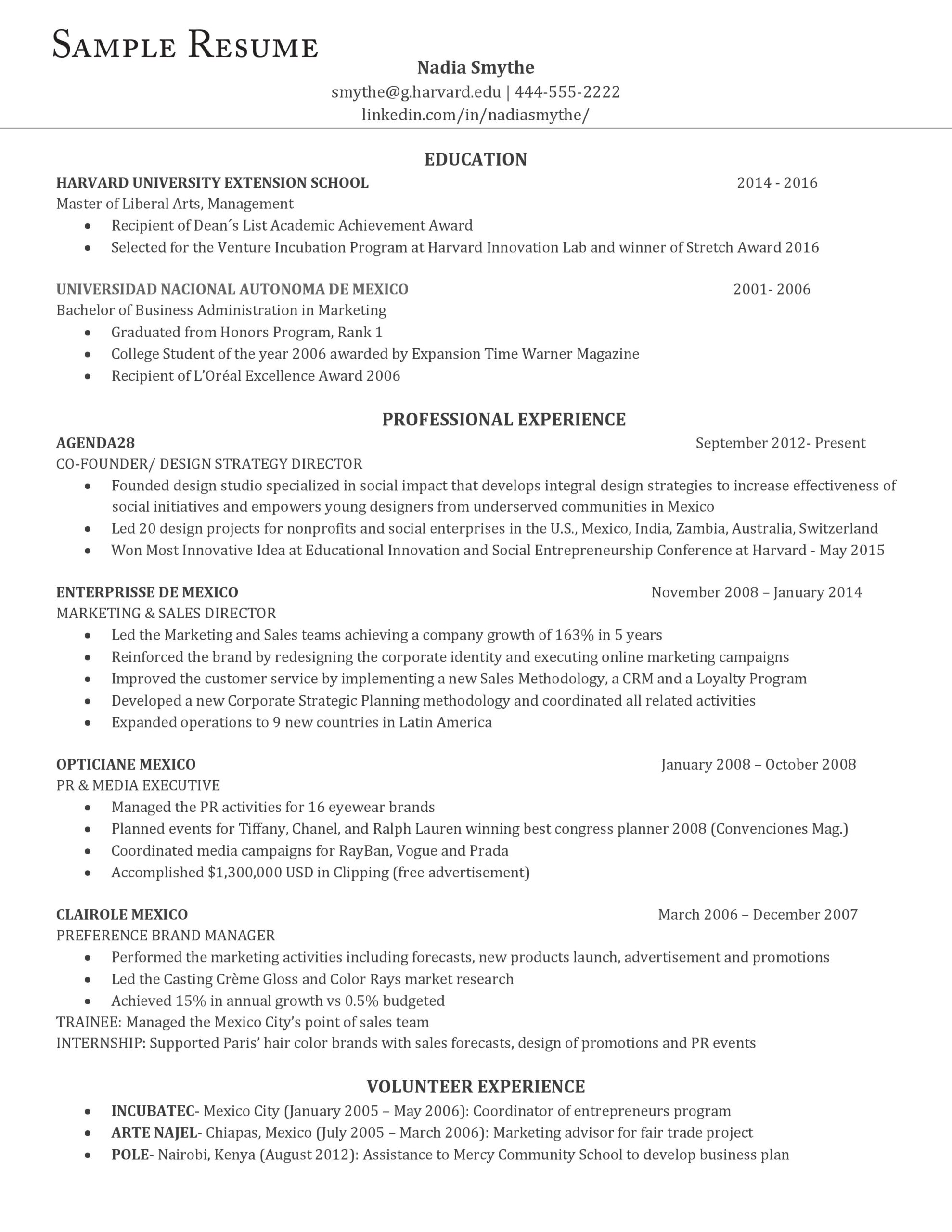 an example of the perfect resume according to harvard career experts professional high Resume Professional High School Resume