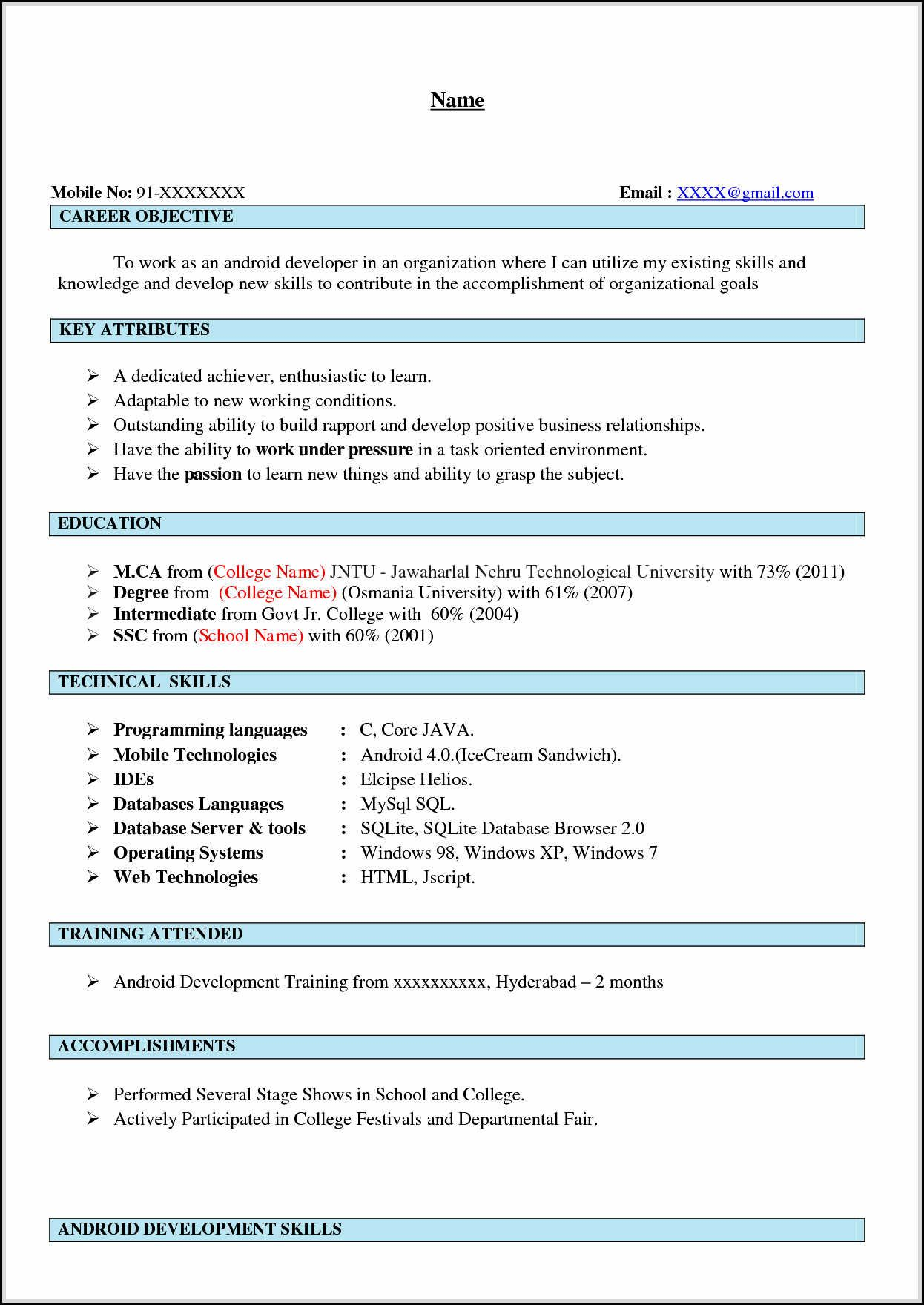 android developer resume sample danaya us examples free template word good for years Resume Android Resume For 2 Years Experience