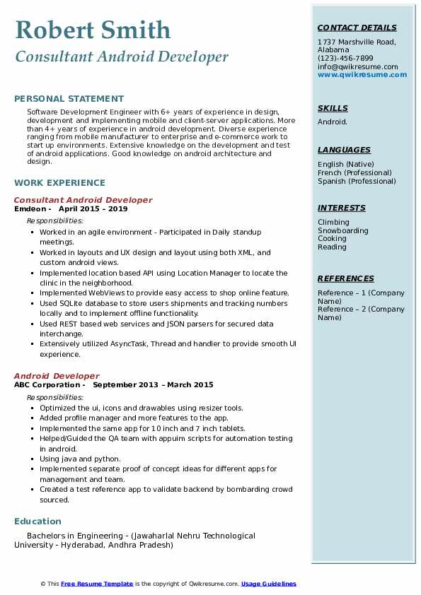 android developer resume samples qwikresume for years experience pdf contoh tugas kuliah Resume Android Resume For 2 Years Experience