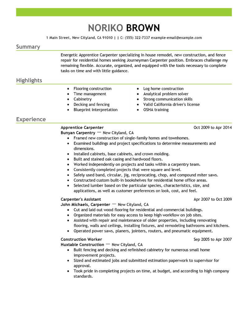 apprentice carpenter resume example resumes livecareer examples construction emphasis Resume Carpenter Resume Examples