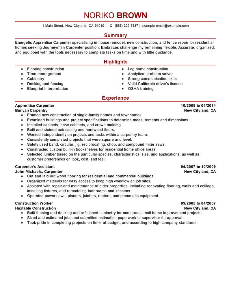 apprentice carpenter resume example resumes livecareer examples construction modern Resume Carpenter Resume Examples