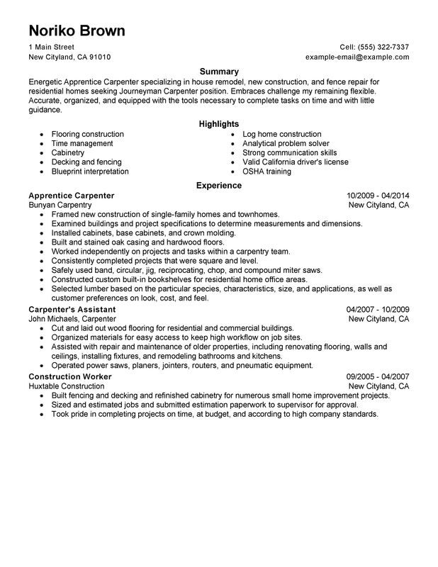 apprentice carpenter resume examples created by pros myperfectresume objective Resume Carpenter Objective Resume
