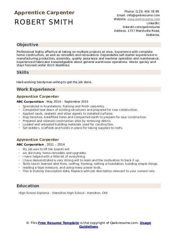 apprentice carpenter resume samples qwikresume examples pdf engineer quality assurance Resume Carpenter Resume Examples