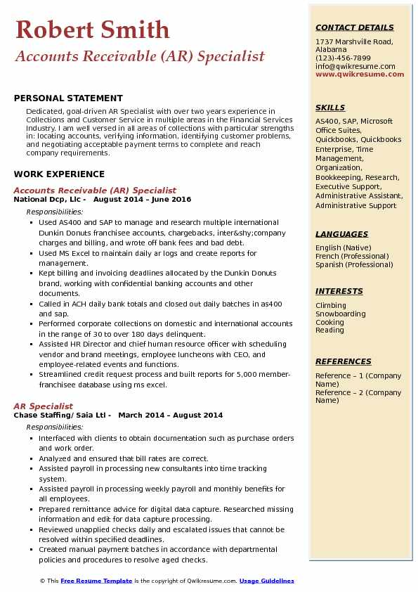 ar specialist resume samples qwikresume accounts receivable pdf accounting and finance Resume Accounts Receivable Specialist Resume