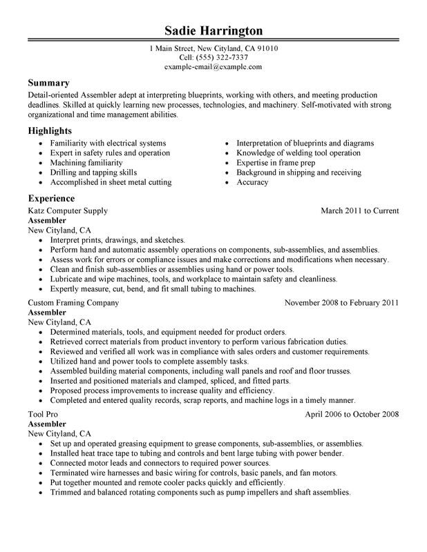 assembler resume examples free to try today myperfectresume production worker warehouse Resume Production Worker Resume