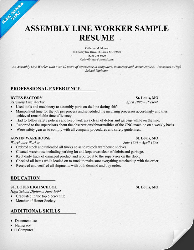 assembly line production resume worker sample for college work study customer service Resume Production Worker Resume