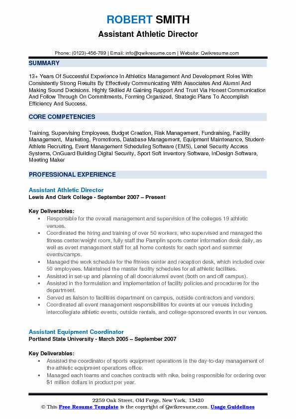assistant athletic director resume samples qwikresume college athlete examples pdf Resume College Athlete Resume Examples