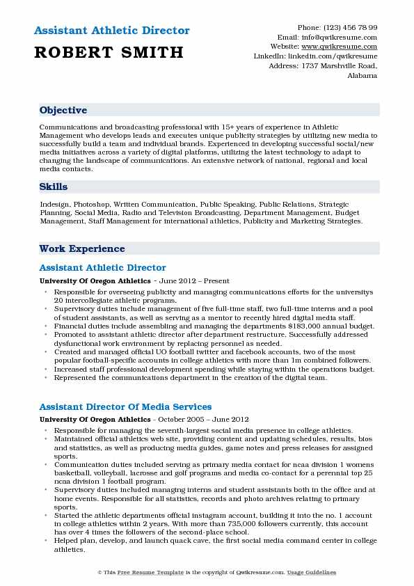 assistant athletic director resume samples qwikresume objective for sports pdf flight Resume Objective For Sports Resume