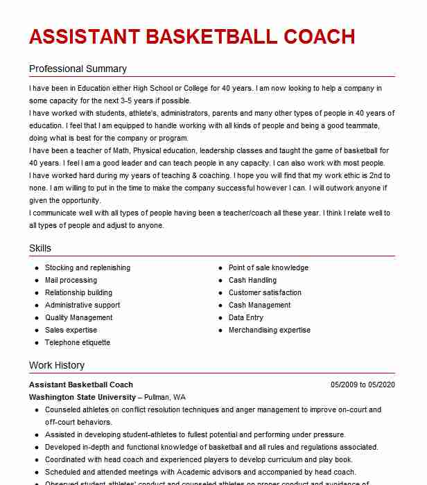 assistant basketball coach resume example resumes misc livecareer head multiple employers Resume Head Basketball Coach Resume