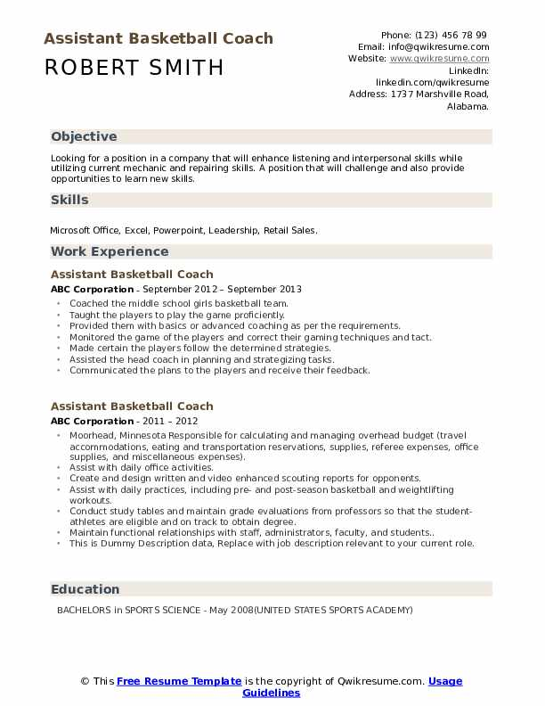 assistant basketball coach resume samples qwikresume head pdf listings on crossword Resume Head Basketball Coach Resume